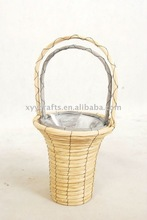 2pcs plastic lined wicker basket (factory supplier)
