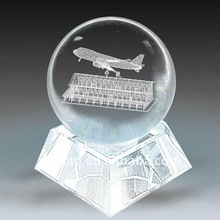 nice 3D laesr engraving crystal ball with base, crystal ball with 3d laser