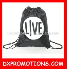 small drawstring shoe bag/polyester black drawstring bag