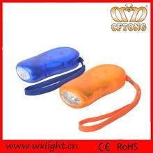 Hand-crank green energency 3 led dynamo flashlight