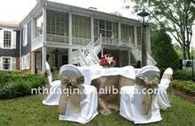 Polyester wedding chair cover wedding banquet chair cover round top polyester banquet chair cover with organza sash