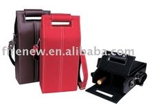 Leather wine case with handle, 2 bottles wine box, wine glasses box
