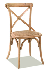 cross back dining chair with rattan seat, living room chair