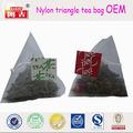 biodegradables vacíos de nylon bolsas de té pirámide con la cadena de bolsa de té vacía
