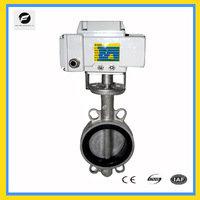 Cast Iron Wafer Type Electric Butterfly Valve 24VDC Power