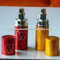 shining aluminum perfume atomizer bottle with heat shape pattem