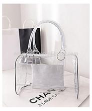 Ladies' pvc clear beach bags/ pvc shoulder bag,transparent pvc hand bag