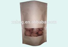 Kraft window pouch standup zipper lock packaging bags