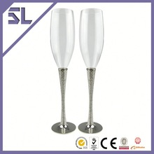 Silver Plating Champagne Colored Wedding Decorations Wholesale Glass Vases Coupling Glass Supplier