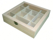 glass lid wooden tea box with 12 compartments