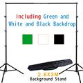 جديد معدات التصوير استوديو الصور خلفية دعم 2.6*3m + أسود أبيض أخضر القطن الشاش الخلفيات