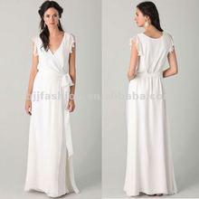 Elegant White V-Neckline Sleeveless Lotus Leaf long Day Dress Guangzhou Manufacturer