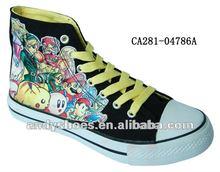 2013 de moda los zapatos de baloncesto, vulcanizado zapatos de pintado a mano los zapatos de lona
