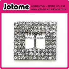 Alloy Metal Silver Tone Square Rhinestone Buckles for Dress, Invitation Card, Hair Bow, Decoration Embellishmen