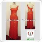 2413# Orange Beaded Sexy Sequins Evening Dress