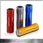 9 led flashlight 3 x AAA Promotional Multicolor Super bright 9 led flashlight Mini 9LED Aluminum Flashlight