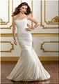 lindo pendão trompete puro branco de seda vestido de casamento