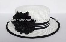 flat top white papaer straw hat