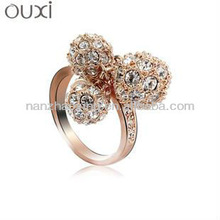 OUXI 2015 Gold Ring Designs for Girls with Austrian Crystals