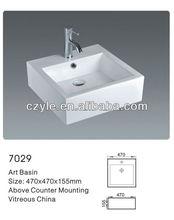 bathroom square counter top basin