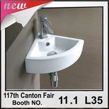 GT-3072 small size wall hung sink Ceramic Corner Wash Basin