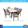 9 Adet açık ayarı doğal taş& 8 yemek masası dökme alüminyum koltukları yeni