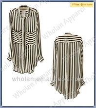 Striped Curved Hemline Loose Blouse-stripe long sleeve shirts woman