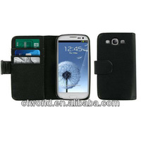 Black PU Leather Credit ID Card Wallet purse case for samsung galaxy s3
