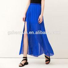 wholesale long denim skirts/Summer hot chiffon split womwholesale long denim skirts