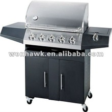 LPG 5 burner BBQ Grill power coating with one side burner for garden family