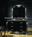 Alibaba francês comoda com espelho/solid wood carving aparador/novos clássicos preto de madeira penteadeira com espelho yj-b2005a