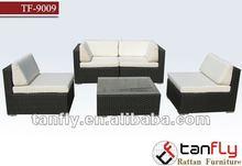 white elegant outdoor furniture PE rattan living room sofa set