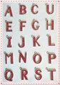 De color rojo del alfabeto carta inicial de a-z nombre clave de la cadena