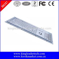 Rugged waterproof industrial metal kiosk 103 keys PC keyboard with trackball,Function keys and numeric keypad