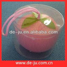 Wholesale Small PVC Gift Box With Bath Mesh Ball Pink Fruit Bob Sponge