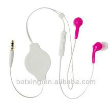 Red retractable earphones round winder earbuds