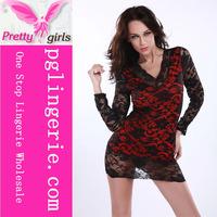Red Lace Women Sexy Lingerie G String Sleepwear Dress Underwear Nightwear Hot