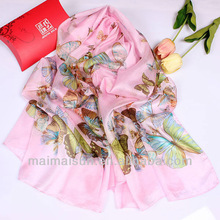 2015 long ladies fashion muffler floral silk scarf