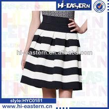 2015 Women latest mini stripe skirt design pictures,black+white lady high-low skirts