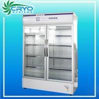 Supermarket upright manufacturer beverage beer bottle display 2 glass door showcase chiller refrigerator
