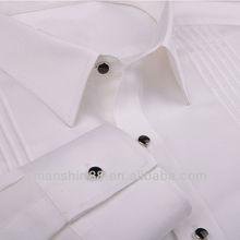2015 Elegant latest fashion model pleated front solid white dress/tuxedo shirt for man