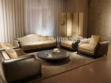Italian style luxury modern ivory printing leather sofa set living room furniture
