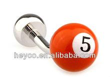 Heyco silver cuff links snooker number 5 orange white enamel ball best man cufflinks