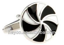 HEYCO round silver crystal black white custom fashion metal enamel star cuff links cufflinks 2012