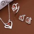 Hot Sterling prata coração rubi conjuntos de jóias indianas