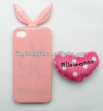 lovely pink rabbit shape mobile phone case for apple iphone 4/4s