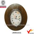 de madera estilo vintage forma ovalada decorativo de material reciclado de reloj de pared