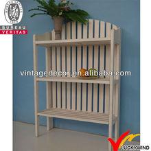 Luckywind FSC wood vintage white folding book shelf