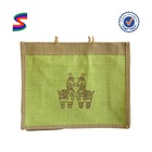 Jute Double Wine Handle Bag Jute Tote Shopping Bag With Wooden Handle