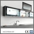 popular moderna de alumínio emoldurados vidro fosco cozinha porta de armário